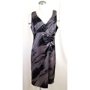 AGB Size 14 Black Gray Midi Dress Sleeveless